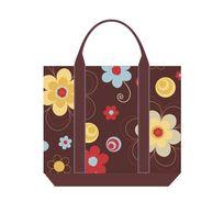 矢量花卉布纹手拎包