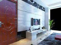 时尚造型电视背景墙3D模型