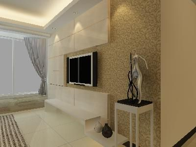 现代自然风格电视墙3d模型