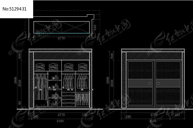衣柜平面图施工图图纸
