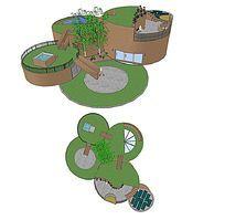 圆屋顶别墅庭院小花园SU模型