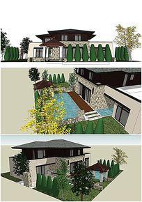 中式别墅庭院小花园SU模型