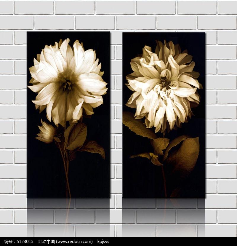 复古时尚装饰画花朵设计