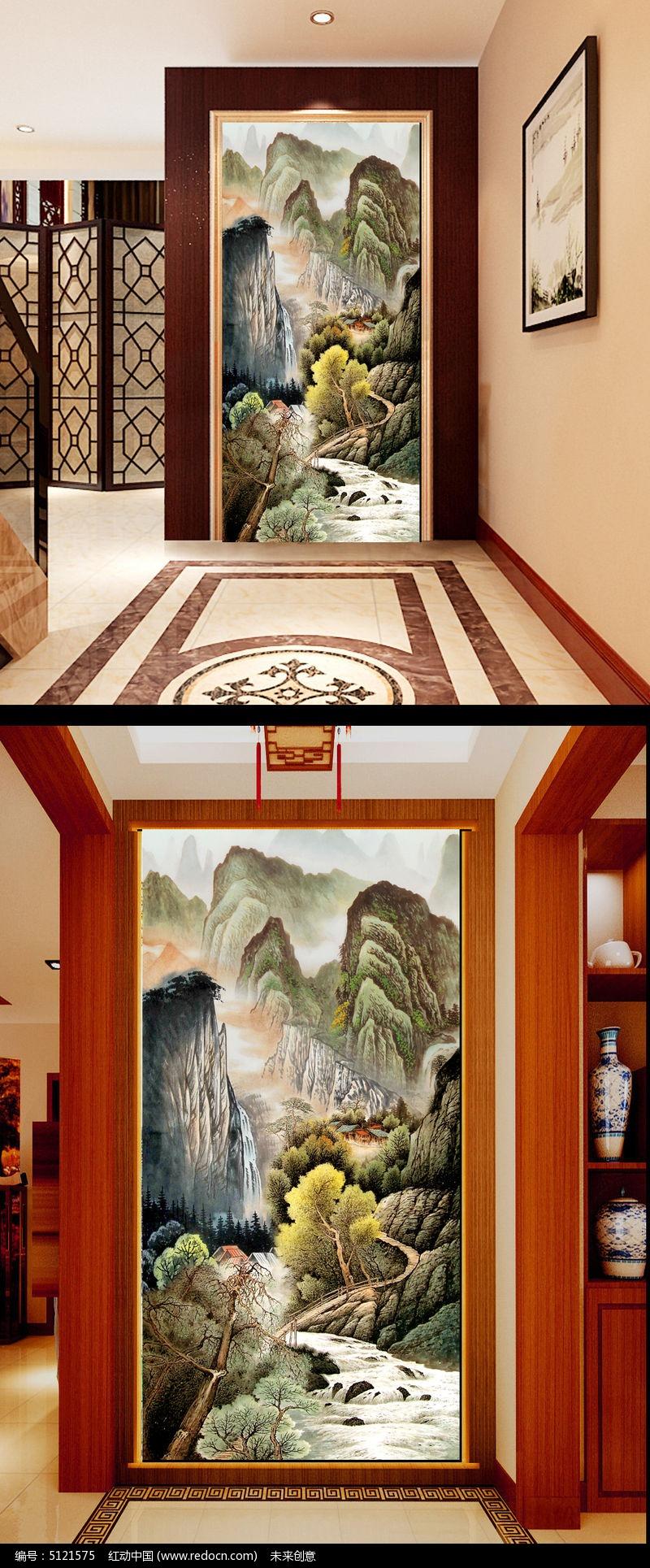 客厅玄关竖式装饰画