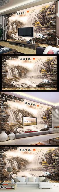 流水生财中式古典3D砖墙山水画电视墙 PSD