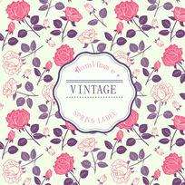 欧式复古风格浪漫玫瑰背景花纹矢量素材