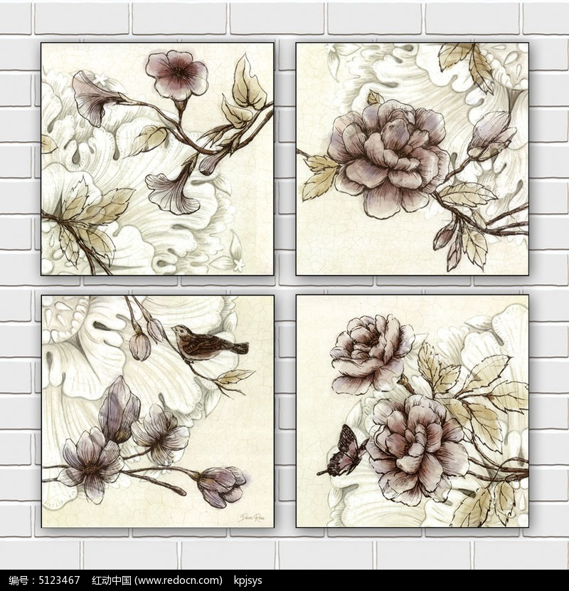 欧式做旧室内装饰画花朵设计图片