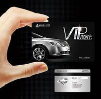 银色质感高档汽车vip会员卡模板