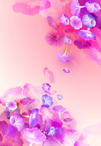 AI矢量水彩粉色紫色花朵装饰画无框画