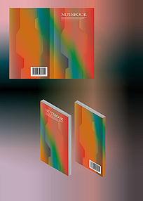橙色幻彩简约笔记本简历书籍封面模板