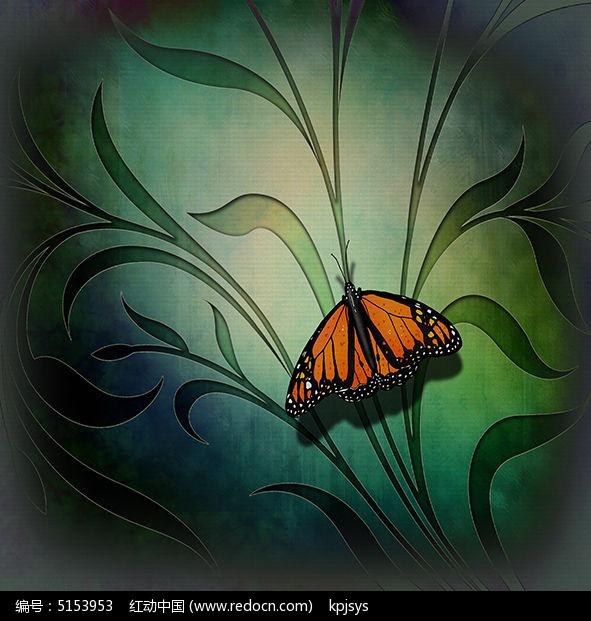 古典素雅蝴蝶室内装饰画设计图片