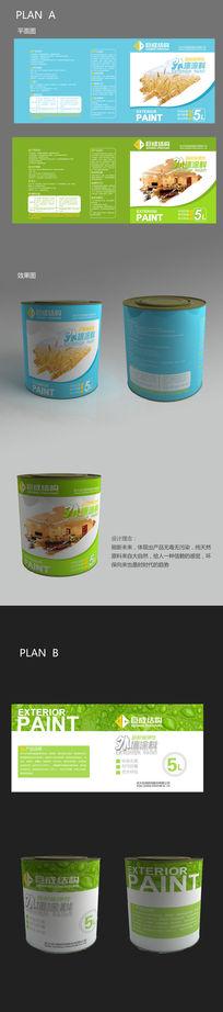 聚成绿色油漆桶涂料包装设计