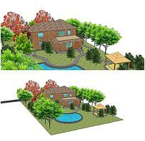 绿化景观别墅庭院小花园