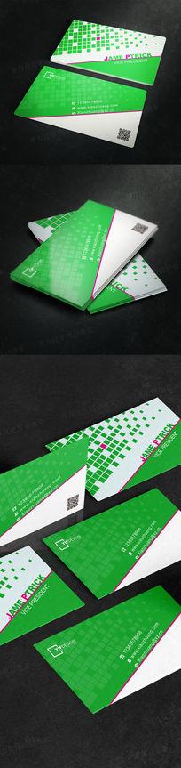 绿色高端大气二维码名片设计