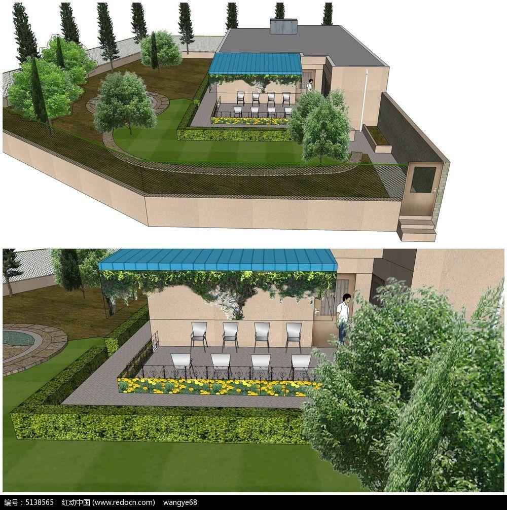 绿色景观别墅庭院小花园