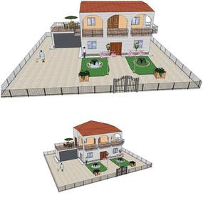 美观欧式别墅庭院花园SU模型