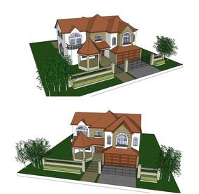 欧式别墅庭院小花园SU模型