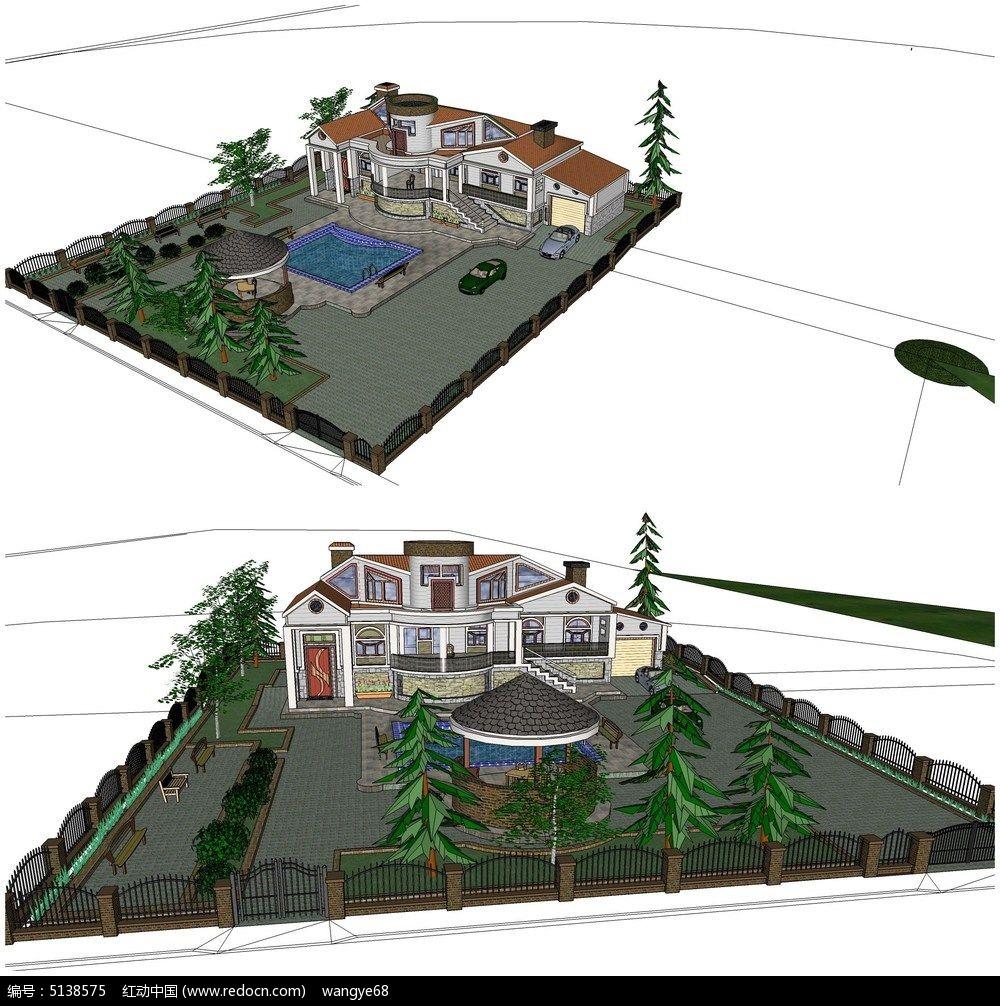 欧式别墅庭院小花园su模型skp素材下载