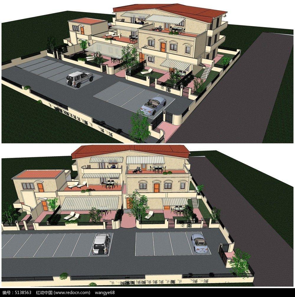 欧式豪华别墅庭院小花园su模型