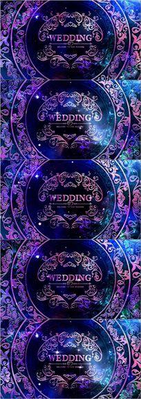 时尚大气星空欧式婚礼logo舞台视频素材