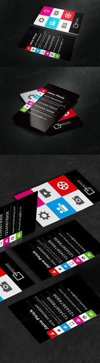 竖版黑色质感现代名片设计