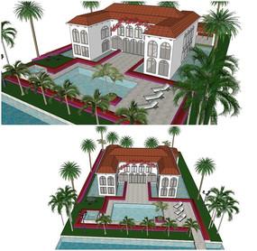 现代欧式别墅庭院小花园SU模型