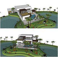 中式私家别墅庭院花园SU模型