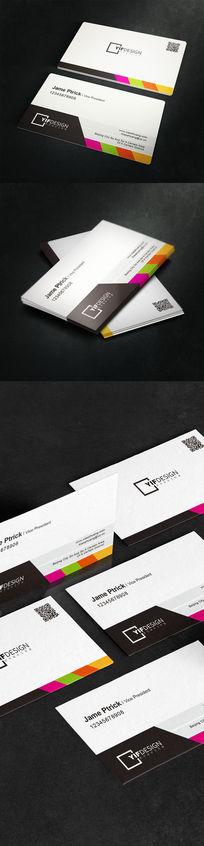 4色黑白底二维码名片设计