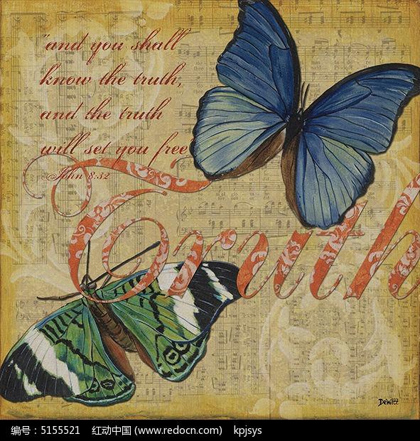 仿古彩蝶做旧装饰画设计模板