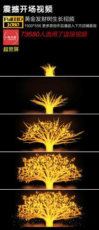 黄金发财树生长LED片头视频素材 mov