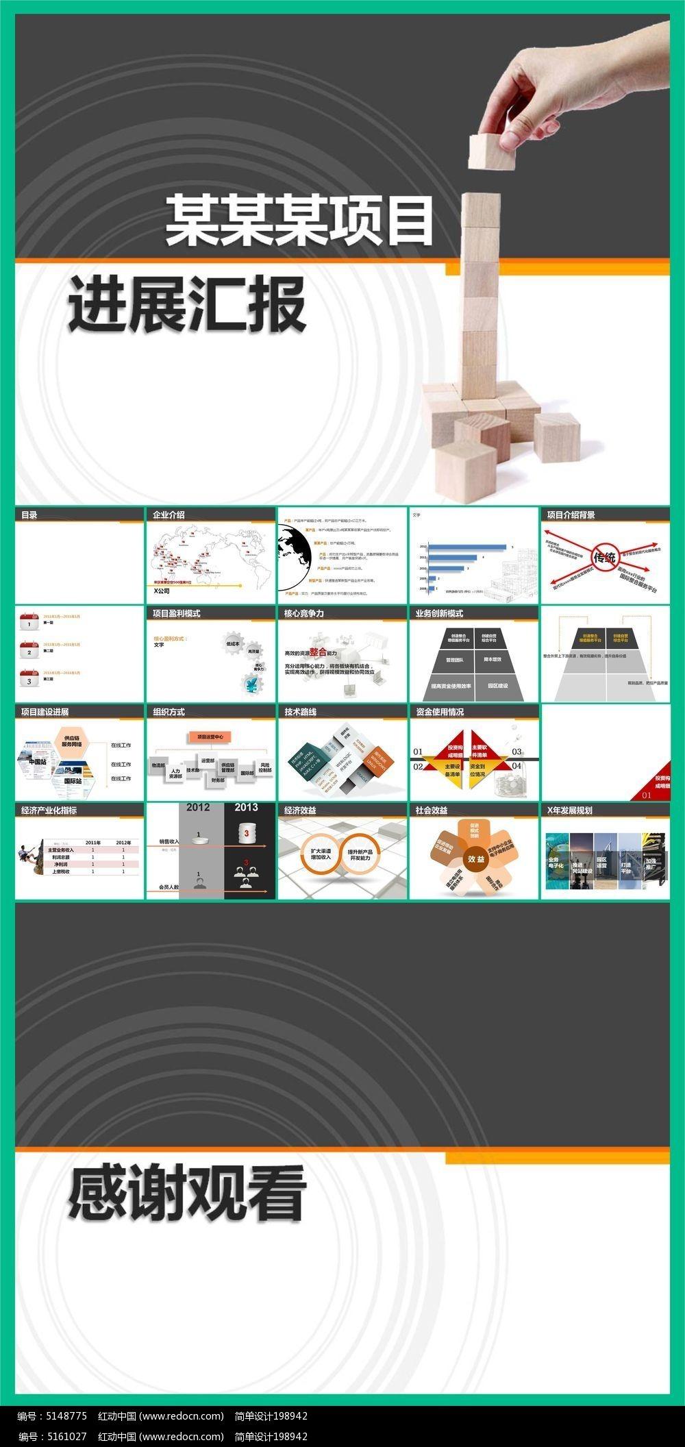 企业项目进展汇报ppt模板