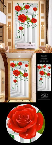 3D立体空间高清浪漫花朵玄关过道背景墙