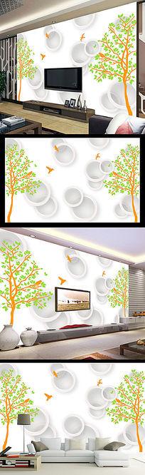 3D圆圈手绘大树电视背景墙装饰画