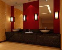 KTV公共洗手区装修3D素材资料