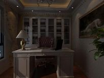白色欧式书房装修3D素材模型