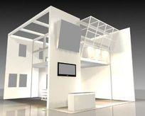 白色现代风格双层展厅3D效果模型