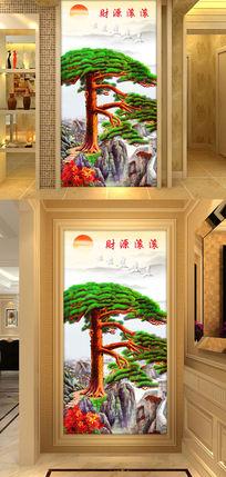 长城迎客松高清玄关过道背景墙装饰画