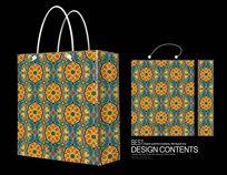 橙色清新花纹背景手提袋