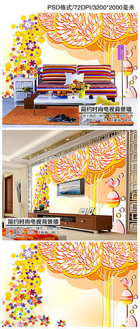 抽象大树手绘花鸟儿童房背景墙壁画