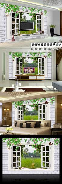窗外园林风景3D立体电视背景墙装饰画
