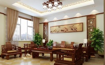 纯中式别墅客厅装修设计模型素材