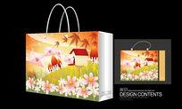 枫叶矢量图案手提袋