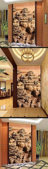 高档3D木雕石雕背景墙壁画