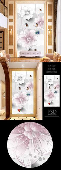 高清浪漫花朵3D立体玄关过道背景墙