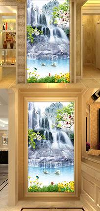 高清山水风景瀑布时尚玄关过道背景墙