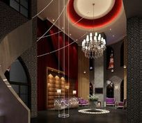 个性主题宾馆酒店大厅装修3D素材