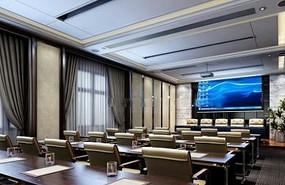 豪华高档会议室布置设计3D模型素材