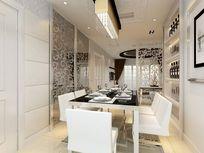 简单白色玻璃餐桌餐厅装修室内模型素材