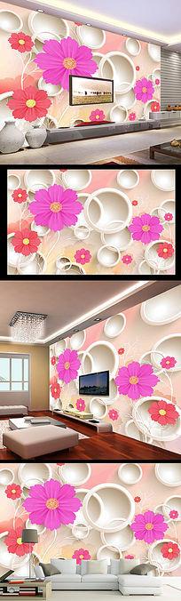 客厅3D花朵电视背景墙