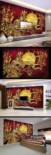 客厅仿彩雕花鸟月亮电视背景墙